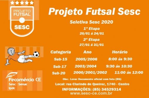 Seletiva projeto Futsal SESC Regional 2020.